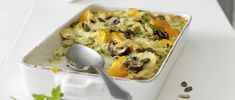Herbstgemüse-Gratin Food In French, Squash, Mashed Potatoes, Eggs, Vegetarian, Cooking, Breakfast, Ethnic Recipes, Gourmet