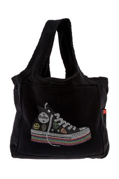 Durable canvas tote bag with charcoal fleece patch front and Rhinestone sneaker applique. Pockets on both sides and inside tote.   Sneaker Tote Bag by Butter Super Soft. Bags - Black Handbags Bags - Totes Long Island