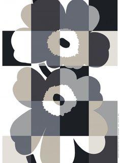 Iso Ruutu-Unikko HW cotton fabric by Marimekko Textile Patterns, Textile Design, Floral Patterns, Marimekko Fabric, Scandinavia Design, African Textiles, Illustration, Monochrom, Textile Artists