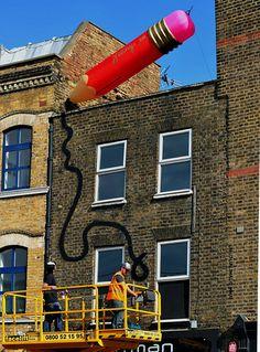 giant pencil sculpture and graffiti #architecture #art