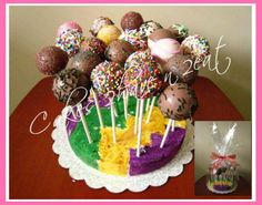 CAKE POPS - ALL COVERED IN CHOCOLATE AND SPRINKLES! YUMMY!