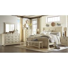 Bolanburg 5 Pc Bedroom - Dresser, Mirror & Queen Panel Bed with Louvered Headboard by Signature Design by Ashley. Get your Bolanburg 5 Pc Bedroom - Dresser, Mirror & Queen Panel Bed with Louvered Headboard at The Unique Piece, Dallas GA furniture store. Bedroom Furniture Sets, Home Furniture, Bedroom Decor, Furniture Stores, Vintage Furniture, Bedroom Chair, Furniture Removal, Leather Furniture, Furniture Online