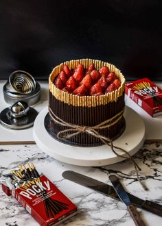 Pulling at the heart strings /-/ Triple Choc mousse pocky cake - chocolate covered strawberries instead of glazed. Maybe tuxedo strawberries? Pocky Cake, Cake Recipes, Dessert Recipes, Gourmet Desserts, Plated Desserts, Chocolate Mousse Cake, Chocolate Covered, Dessert Blog, Strawberry Cakes