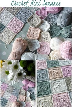 Annie's Place - Crochet Mini-Squares in pink, peach and grey