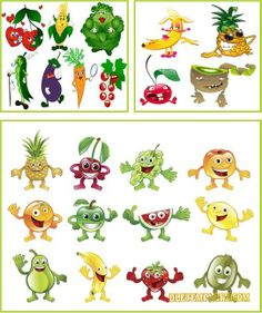 Cartoon vegetables and fruits (Vectors)  {free eps file download ♥}