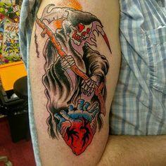 grim reaper tattoos with heart azrail dövmeleri