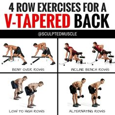 4 ROW EXERCISES FOR A V-TAPERED BACK - if you want to build a strong V-Tapered back, then ROWS are one of the best exercises that you can do. I prefer the dumbbells because they allow for a greater range of motion on each rep. By adjusting the angle of ea Dumbbell Back Workout, Back Workout Men, Good Back Workouts, Gym Workout Tips, Chest Workouts, Back Exercises, At Home Workouts, Workout Exercises, Lat Workout At Home