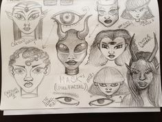 Sketch of faces for space chick character