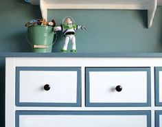 Give your dresser a simple update with blue and white paint.