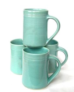 Set of 4 16 oz Handmade Ceramic Mug  Aqua by crutchfieldpottery, $60.00  Like these even better than thergreen ones.