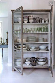 freestanding kitchen cabinets, kitchen storage ideas, furniture in the kitchen, hutch, antique armoire, glass doors