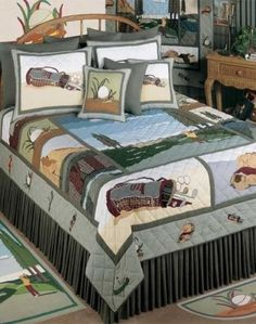 The Golf theme quilt bedding set is truly a design that makes golf lovers feel at home. images include a golf course and golfer, golf bag, golf balls and more.