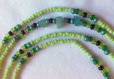"""#waistbeads """"Clear Road"""" - Single strand:Jade, four shades of green seed beads and some black for pop. #keffigal #rootsnculture $20"""