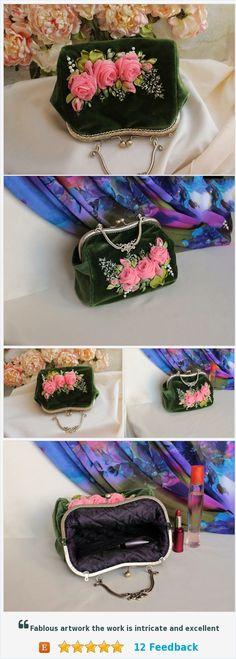 Kiss Lock purses handbag embroidered evening bag wedding Clutch gift silk ribbon embroidery Purse Vintage handbag Floral purse Pink roses https://www.etsy.com/RibbonEmbroideryAlsu/listing/594249969/kiss-lock-purses-handbag-embroidered?ref=listing-shop-header-0