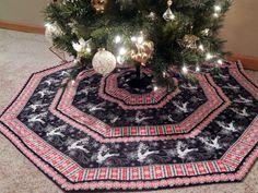 Dancing Reindeer Striped Christmas Tree Skirt by MiladyCreations