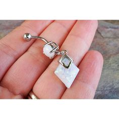 White Opal Belly Button Jewelry Ring with White Opal Diamond Dangle ❤ liked on Polyvore featuring jewelry, rings, diamond shaped ring, dangle navel rings, diamond belly ring, opal belly button ring and belly button rings