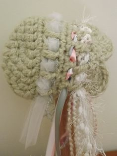 Crochet Baby Girl Bonnet Hats with Ribbons Pixie Style Vintage Inspired Knit Hat Gorgeous Newborn Photography Prop for Baby Girls. $24.00, via Etsy.