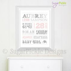 Baby Girl Nursery Decor, Birth Announcement Personalized Birth Details, Baby Subway Art, Nursery Decor, Digital file, baby shower gift