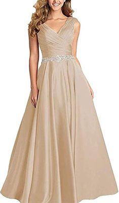 Ri Yun Women s V Neck Pleated Beaded Prom Dresses Long 2019 Satin A-line  Formal 6923ca07a