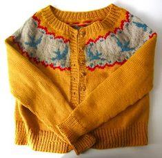 Ravelry: Project Gallery for Birdie Fair Isle Cardigan pattern by Hannah Fettig Cardigan Pattern, Crochet Cardigan, Knit Crochet, Crochet Cats, Crochet Birds, Crochet Food, Baby Cardigan, Crochet Granny, Crochet Animals