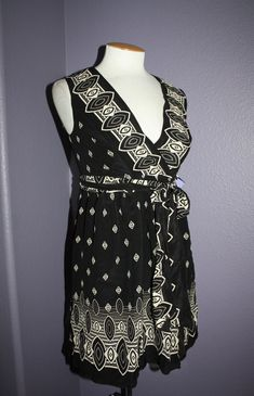 51b570b44abf NWT Anna Sui for Target Black   Ivory Print Sleeveless Silk Wrap Mini Dress  S  AnnaSui  WrapDress  Casual