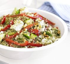 2: 10 minute couscous salad - Couscous - Spring onions - Red pepper - Cucumber - Feta cheese - Pine nuts