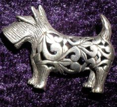 Silver Filigree Scotty Dog Brooch Pin.  via Etsy.