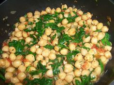 """Bonefish Grill"" Chickpeas or Garbanzo beans with tomatoes, onion, basil, and spinach...delish! *Add 1/2 lb sausage to make it a main dish.  We both liked this a lot!"