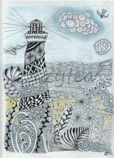 Cape Hattaras lighthouse ZIA, zentangle inspired art