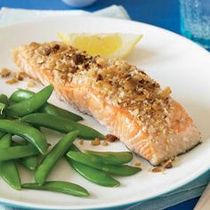 Wasabi Salmon -- Panko gives this salmon recipe an irresistible texture. Paired with steamed green beans, it's a quick and easy dinner that's sure to satisfy. #myplate #protein