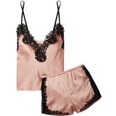 Fleur Du Mal + Kilian lace-trimmed stretch silk-satin pajama set (1.460 BRL) ❤ liked on Polyvore featuring intimates, blush, satin kimono, camisole lingerie, lace trim cami, lingerie cami and lace trim camisole