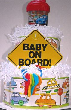 Baby On Board Diaper Cake - Things That Go Theme - Boy Baby Shower
