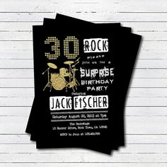 05b0e9977619 Items similar to Surprise 40th birthday party invitation. Rock and roll  music black and gold 30th 40th 50th drum set birthday printable invitation.