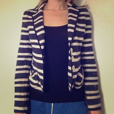 "Nanette Lepore Miss Ohio striped jacket grey/blue 100% cotton. Excellent condition. Soft but structured. Small front pockets, back pleats. Shoulders measure about 15.5"" across. Nanette Lepore Jackets & Coats Blazers"
