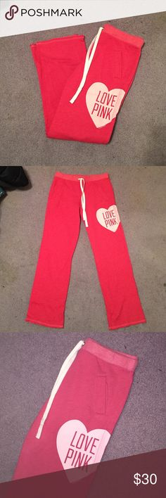 PINK sweatpants Victoria's Secret PINK sweatpants. These are my favorite sweatpants. They're the boyfriend cut, made with a fleece lining, & can cut bottoms if desired. NEVER WORN. just have too many of these! Perfect condition. Pink color! PINK Victoria's Secret Pants Boot Cut & Flare