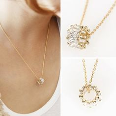 Sale 12% (9.65$) - S925 Sterling Silver Short Zircon Crystal Simple Chain Sweet Clavicle Necklaces