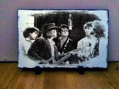 "The Traveling Wilburys Art Portrait on Slate 12x8"" Rare memorabilia collectables"