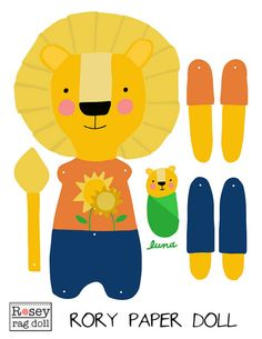 DIY lion paper doll, articulated, Rosey Rag Doll