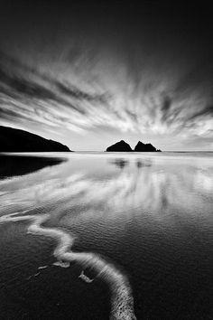 Martin Mattocks (mjm383) | Dancing Clouds | black and white + beach ocean sea seascape clouds