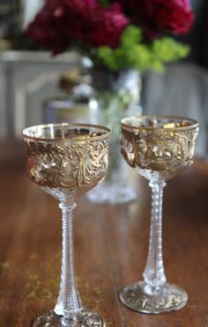 Antique Wine Goblets.Romancing the Home: