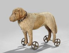 1038: Antique Patchwork Stuffed Toy Dog on Wheels, : Lot 1038