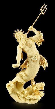 Poseidon Figur - Gott des Meeres Neptun Statue Badezimmer Deko - Veronese