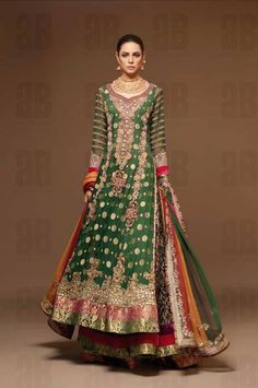 I absolutely love that shade of green in a lehnga with other colors
