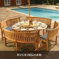 Our Most Exquisite Round Dining Set  Combining the popular 6 ft Buckingham Round Table with the Buckingham Benches creates a perfect level of comfort for outdoor dining and picnicking. The table can accept an optional umbrella to create a more relaxing atmosphere.     The Buckingham Bench Dining Set features:      1 Buckingham Round Table, 4 Buckingham Benches.     Seating up to 12.