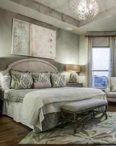 Unwind in a tranquil #master #bedroom #suite with #hardwood #floors and a #reading #nook surrounded by sweeping #windows for a breathtaking #Texas view. #homedesign #interiordecor