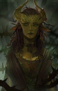 Nature Godlike арт, девушки, фентези, дриада, друид, Pillars of Eternity
