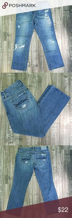 """Distressed Denim Capris Wore a few times. Distressed style. 24""""inseam. No stains or tears that aren't supposed to be there. Excellent condition! Abercrombie & Fitch Jeans Ankle & Cropped"""