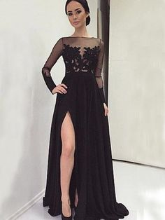Long Sleeve Black With Slip Side Sexy Appliques Charming Evening Dress For Prom Gown. Long Sleeve Black With Slip Side Sexy Appliques Charming Evening Dress For Prom Gown. Sexy Evening Dress, Prom Dresses Long With Sleeves, Black Evening Dresses, Black Prom Dresses, Dress Black, Dress Long, Long Sleeve Formal Dress, Black Lace Gown, Sleeve Dresses