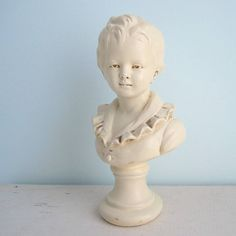 Shabby Chic Marwal Chalkware Bust of French Boy. Willow Moon Vintage on Etsy.