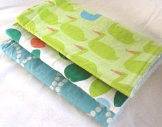 Red Letter Day Ducks n Trees - Boutique Burp Cloth Gift Set for Baby Boy or Girl $20